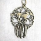 MUSTANG WILD HORSE PONY DREAM CATCHER & FEATHERS SOLID PEWTER PENDANT ADJ NECKLACE
