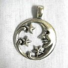 NEW MAN IN THE MOON & SHOOTING STARS CAST USA PEWTER PENDANT ADJ CORD NECKLACE