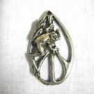 HIPPIE STATEMENT PEACE SIGN WITH FUN TREE FROG CLIMBER PEWTER PENDANT ADJ NECKLACE
