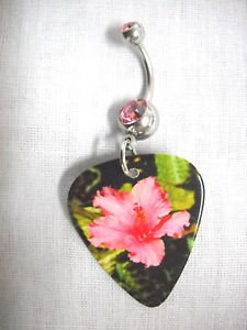 GARDEN PHOTOGRAPH PINK HIBISCUS FLOWER PRINTED GUITAR PICK 14g PINK CZ BELLY RING