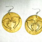 EXOTIC KISSING DOLPHIN HEART LASER ENGRAVED BEACH SAND COCONUT SHELL EARRINGS