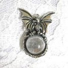 NEW BABY DRAGON ENCRUSTED CLEAR GEM BALL USA PEWTER PENDANT NECKLACE