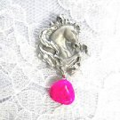 HAND ENGRAVED PONY - HORSE w BRIGHT HOT PINK TURQUOISE PEWTER PENDANT NECKLACE
