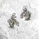 CLASSIC SOUTHWESTERN END OF THE TRAIL 3D HORSE & RIDER w SPEAR CAST PEWTER CHARM EARRINGS