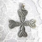 PEWTER CELTIC SCROLL INFINITY KNOT MALTESE CROSS PENDANT NECKLACE IRON CROSS