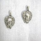 LION HEAD w MANE KING OF THE JUNGLE EL LEON LEO CHARMS DANGLING PEWTER EARRINGS AFRICAN SAFARI