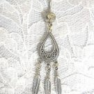 DREAM CATCHER DROP SHAPED CONCHO w 3 DANGLING FEATHERS 14g CLEAR BELLY BUTTON RING