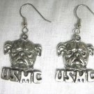 NEW BULL DOG HEAD USMC USA MADE CAST PEWTER FULL PENDANT SIZE DANGLING EARRINGS