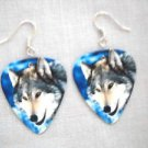 NEW BLUE SKY GRAY WOLF WILDLIFE PRINTED GUITAR PICK DANGLING PAIR OF EARRINGS