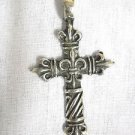 SOUTHERN FLEUR DE LIS CROSS ANTIQED USA CAST PEWTER PENDANT ADJ CORD NECKLACE