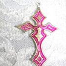 LARGE HOT PINK INLAY GOTHIC CROSS CAST USA PEWTER PENDANT ON ADJ CORD NECKLACE