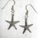 BY THE SEA BEACH VACATION STARFISH CHARMS DANGLING PEWTER EARRINGS OCEANSIDE JEWELRY