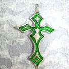 LARGE GREEN COLOR INLAY GOTHIC CROSS USA PEWTER PENDANT ON ADJ CORD NECKLACE