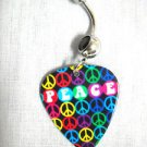 MULTI PEACE SIGN w BRIGHT RAINBOW COLORS HIPPIE GUITAR PICK 14g BLACK CZ BELLY RING BARBELL