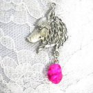 HAND ENGRAVED WILDLIFE WOLF HEAD PROFILE w HOT BRIGHT PINK TURQUOISE PENDANT NECKLACE