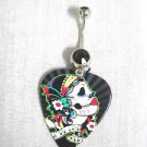 COLORFUL DAY OF THE DEAD SUGAR SKULL GIRL GUITAR PICK 14g BLACK CZ BELLY RING