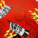 BURGUNDY RED FLAMING SKULL IN TOPHAT & DICE TRIBAL BIKER BANDANA SCARF HANKERCHIEF