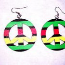 RASTA COLORS PEACE SIGN SYMBOL RED YELLOW GREEN BLACK HAND PAINTED WOOD DANGLING EARRINGS