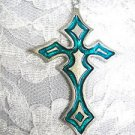 LARGE TEAL BLUE COLOR INLAY GOTHIC CROSS PEWTER PENDANT ON ADJ CORD NECKLACE