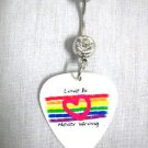LOVE IS NEVER WRONG HEART OVER A RAINBOW GUITAR PICK ON 14g CLEAR CZ BELLY RING