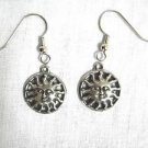 NEW CELESTIAL FLAMING SOLAR SUN STAR USA CAST PEWTER DANGLING CHARM EARRINGS