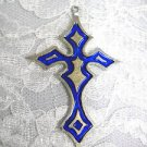 LARGE COBALT BLUE COLOR INLAY GOTHIC CROSS USA PEWTER PENDANT ON ADJ CORD NECKLACE