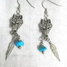 AMERICAN PEWTER RAISED WOLF HEAD w FEATHER & TURQUOISE GEMSTONE NUGGET EARRINGS