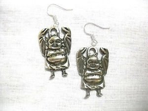 DETAILED ZEN MEDITATION BUDDHA FULL BODY ARMS UP IN ROBE DANGLING USA PEWTER EARRINGS