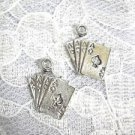 4 ACES FOUR OF A KIND CARD HAND ALL SUITS CARDS DANGLING PEWTER CHARM EARRINGS