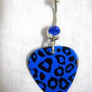 NEW BLUE LEOPARD SAFARI PRINTED GUITAR PICK w COBALT CZ BELLY BAR NAVEL RING