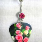 MULTI PINK COLOR ROSES PRINTED GUITAR PICK 14g PINK CZ NAVEL BARBELL BELLY RING