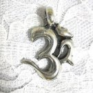 BOLD THICK SOLID USA CAST PEWTER PLAIN AUM OM SYMBOL RELAX PENDANT ADJ NECKLACE