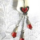 SHOT THROUGH THE HEART - BLEEDING HEART w  RED CRYSTAL 3 DANGLING CHAINS NAVEL RING