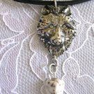 SPIRIT ANIMAL WILDLIFE WOLF HEAD w WHITE TURQUOISE GEM PEWTER PENDANT NECKLACE WOLVES