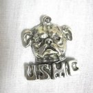 NEW USMC MARINE CORE BULL DOG HEAD USA CAST PEWTER PENDANT ON ADJ CORD NECKLACE