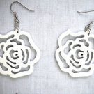 NEW BRIGHT WHITE CUT OUT ROSE FLOWER SILHOUETTE WOODEN DANGLING FLOWERS EARRINGS