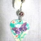 COLORFUL PURPLE BUTTERFLY DECO SWIRLS PRINTED GUITAR PICK 14g PURPLE CZ BELLY RING BARBELL