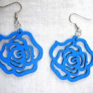 NEW VIVID BRIGHT BLUE CUT OUT ROSE FLOWER WOODEN DANGLING FLOWERS EARRINGS