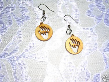 NEW TOTEM BEAR CLAW / BEAR PAW ROUND LASER CUT OUT WOODEN CHARM EARRINGS JEWELRY