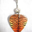 TIGER FUR BIG CAT DESIGN PRINTED GUITAR PICK 14g CLEAR CZ BELLY BAR NAVEL RING