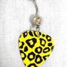 BOLD HOT YELLOW COLOR LEOPARD BIG CAT PRINTED GUITAR PICK ON CLEAR CZ BELLY RING