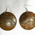 NEW BIG FUN OCEAN JUMPING DOLPHIN LASER ENGRAVED DESIGN COCONUT SHELL EARRINGS
