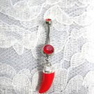 3D HOT CHILI PEPPER CALIENTE CHARM ON 14g RED CZ BELLY RING BARBELL