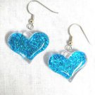 FUN PUFFY BRIGHT BLUE GLITTER HEART ON WIRE HOOKS FASHIONISTA EARRINGS
