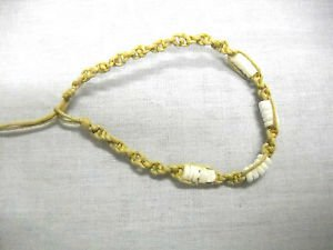 BEACH SAND TAN NATURAL SPIRAL MACRAME w PUKA SHELL BEADS TIE ON BRACELET / ANKLET