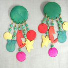 BY THE SEA SEAHORSE FISH STAR COLORFUL BEACH SIDE THEME 5 TASSEL WOODEN EARRINGS