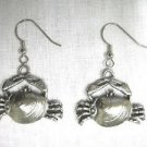 BY THE BEACH & SURF CRAB IN A CLAM SHELL SOLID PEWTER FULL PENDANT SIZE DANGLING EARRINGS