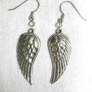 NEW DETAILED ANGEL WINGS DANGLING USA CAST PEWTER EARRINGS FEATHERED WING L & R