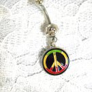 NEW REGGAE PEACE SIGN IN RASTA COLORS 14g CLEAR CZ BELLY RING BARBELL