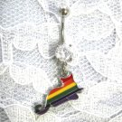 COLORFUL RAINBOW GAY PRIDE KITTY CAT ON 14g CLEAR CZ NAVEL BELLY RING
